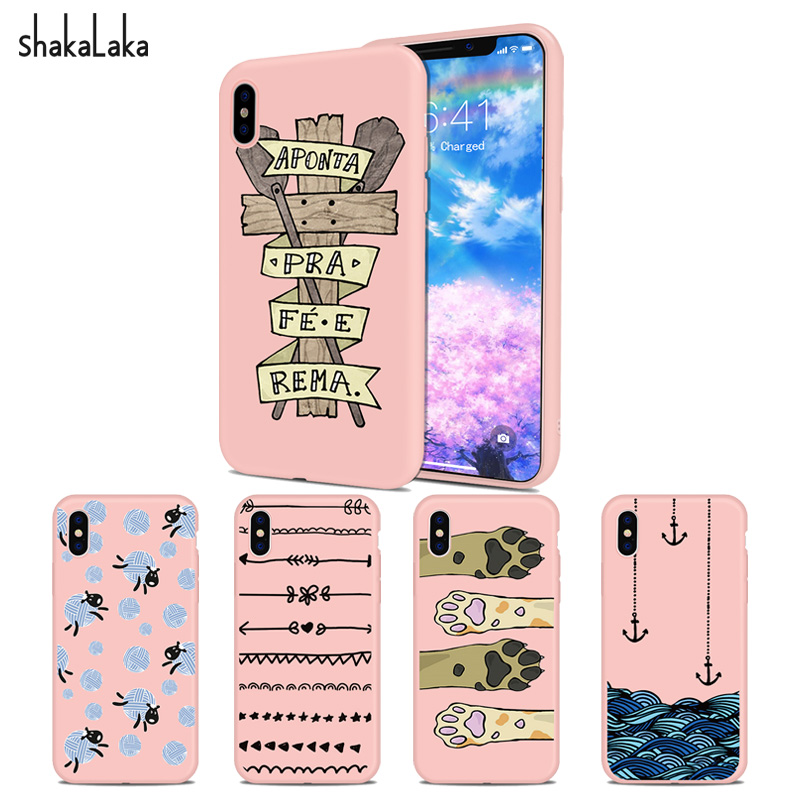 Sea anchor Phone Cover case for iPhone5 5s SE 6 6s 7 8 Plus X Soft Pink Silicone TPU capa Cute cat Paws fundas coque Sheep Shell