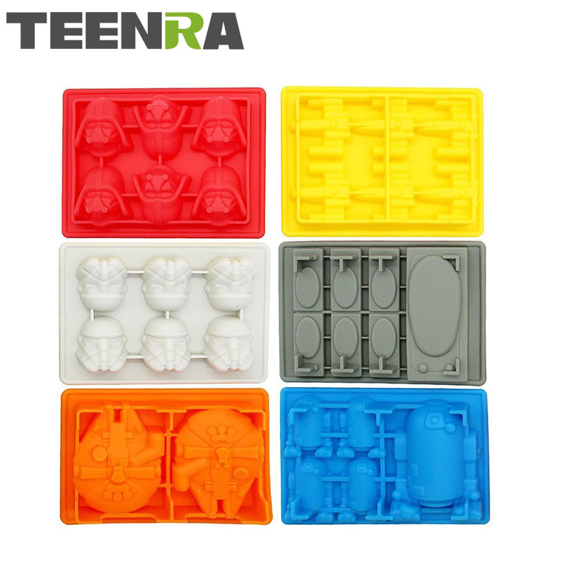 TEENRA 6Pcs Star Wars Silicone Ice Cube Bakke Candy Mold Pan Ice Mold Chokolade Fondant Cake Mould Silicone Ice Form