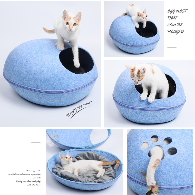 Portable Cat House Cave Sleeping Bag Zipper Egg Shape Felt Cloth Pet House Nest All Season Use Dog Cat Bed Comfortable in Cat Beds Mats from Home Garden