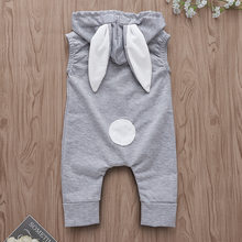 Cute Rabbit Hooded Jumpsuit Grey Baby Onesie Sleeveless Zipper Romper Newborn Tiny Cottons Spring Girl Boy Clothes(China)