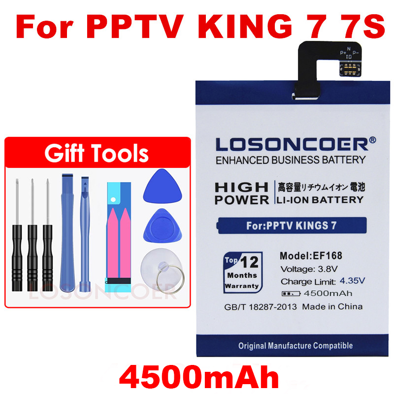 LOSONCOER 4500mAh EF168 Battery For PPTV Kings 7 7S King7 PP6000 Li-ion Li-Polymer