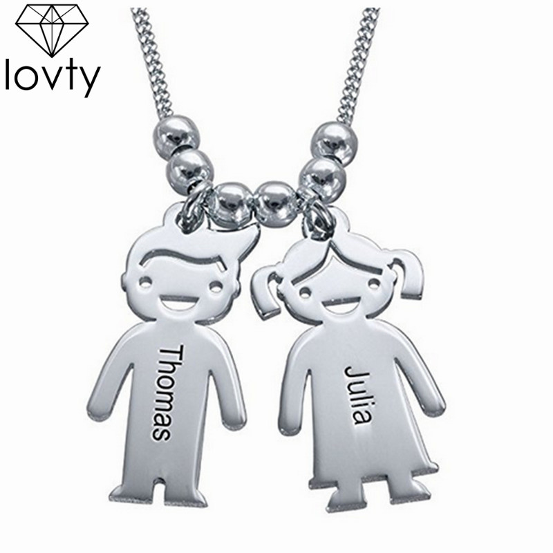 lovty Gold Silver Color Personalized Custom Kids Pendant Necklace Customized Children Necklace Handmade Gift for New Mom image