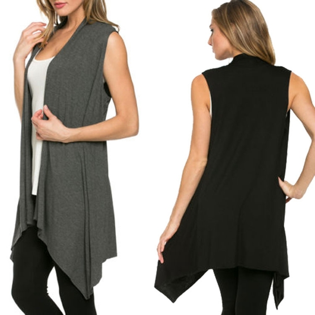 2016 New Fashion Knitted Cotton Cardigan Women's Sleeveless Long ...