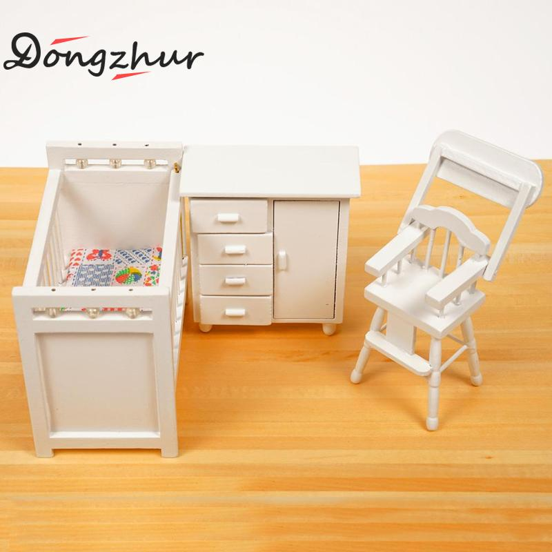 Dongzhur 3pcs/set Bedroom Furniture Wooden Crib Bed Baby Chair Cabinet 1:12 Scale Dollhouse Mini Kids DIY Doll House WWP6562