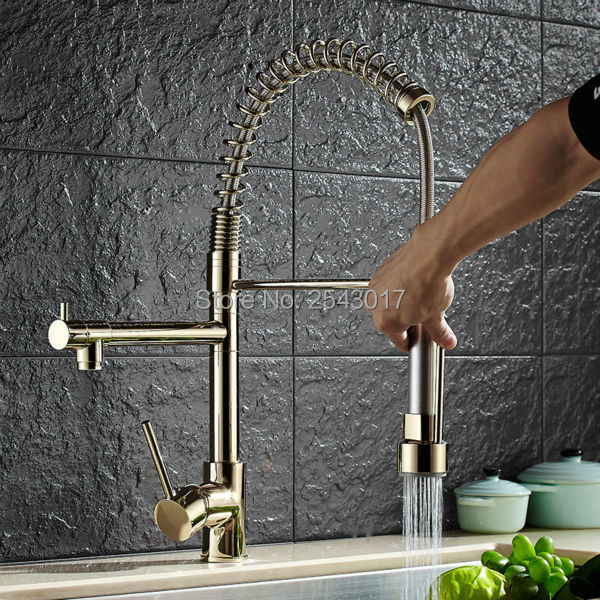 Luxury Pull Out Kitchen Faucet Golden Polished with 2 Flexible Spout Spring Mixer Taps Deck Mount Hot&Cold Crane ZR506