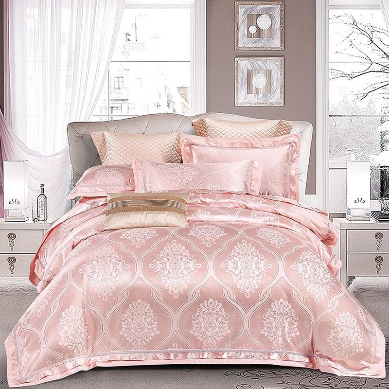 Us 7486 43 Offluxury Satin Jacquard Bedding Set Blue Silver Queen King Size Bed Set Duvet Cover Bed Sheet Duvet Cover Set Ropa De Cama Nordico In