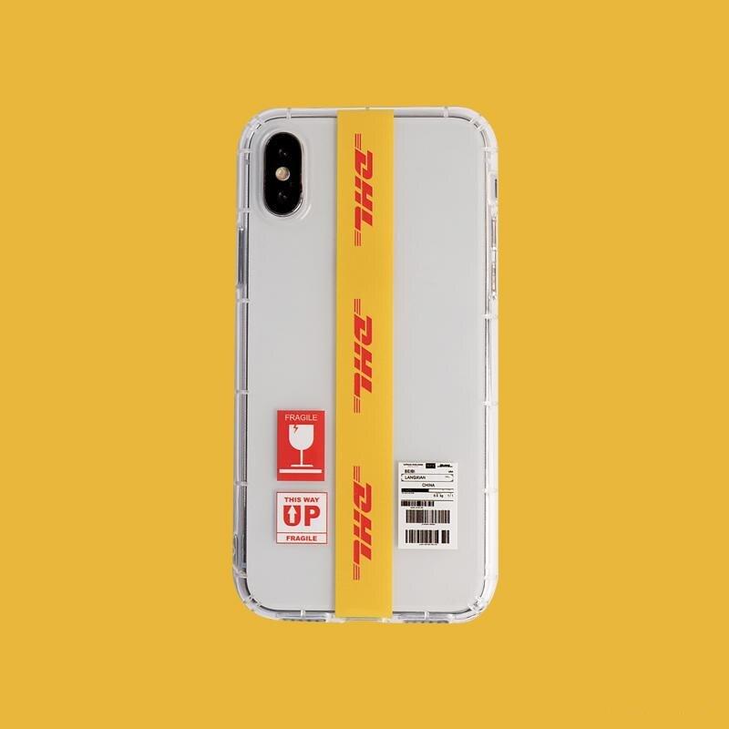 Personnalité Couple Dhl motif téléphone housse étui pour iphone X 11 pro Xs Max Xr 10 8 7 6 6s Plus luxe souple Silicone Coque Fundas
