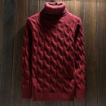 winter lapel turtleneck men's twist knitting sweater thickening pullovers