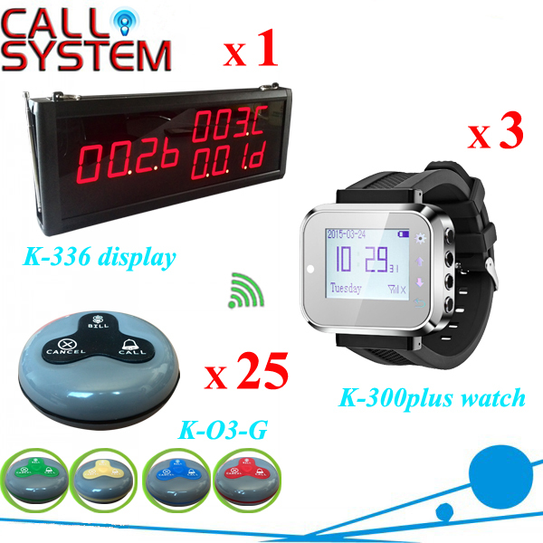 Wireless service Paging System 3 key call button with removable watch pager and LED screen for laptop