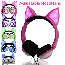 Cute Fox/Cat Ears Wired Folding Wireless Earphones LED Flashing Glowing colorful Headphone Adjustable Headhand Headset For Kids(China)