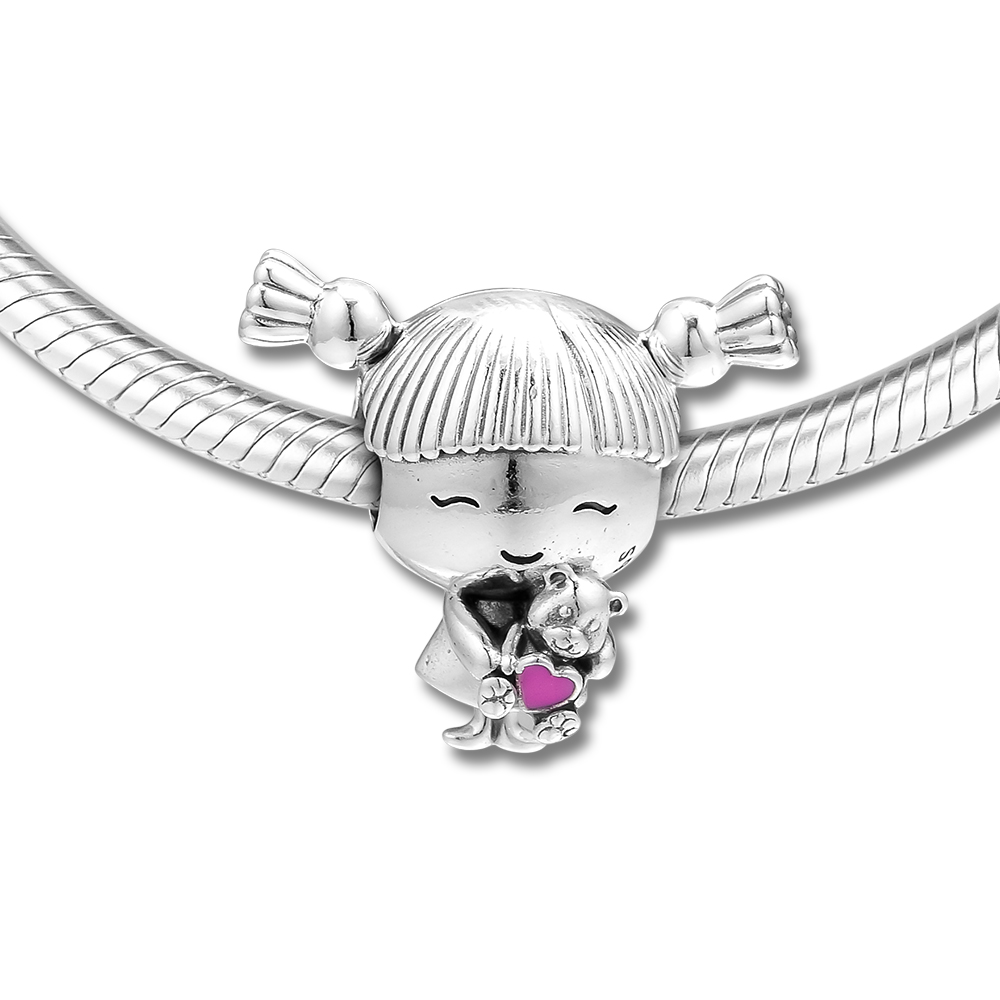 DIY Fits for Pandora Charms Bracelets Girl with Pigtails Beads 100% 925 Sterling-Silver-Jewelry Free ShippingDIY Fits for Pandora Charms Bracelets Girl with Pigtails Beads 100% 925 Sterling-Silver-Jewelry Free Shipping