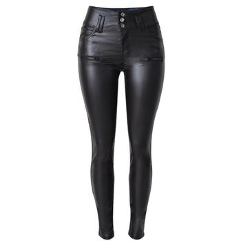 Women High Waist Single Button Faux Leather Pants Skinny Slim Fake Zippers Pu Leather Pants Sexy Stretch Bodycon Trousers D68