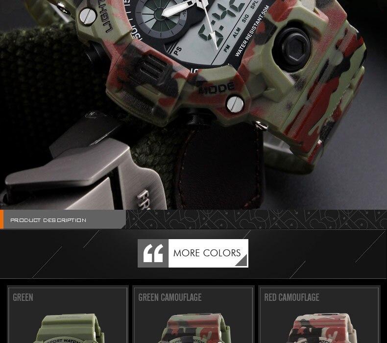 militar led digital relógio de quartzo 50m