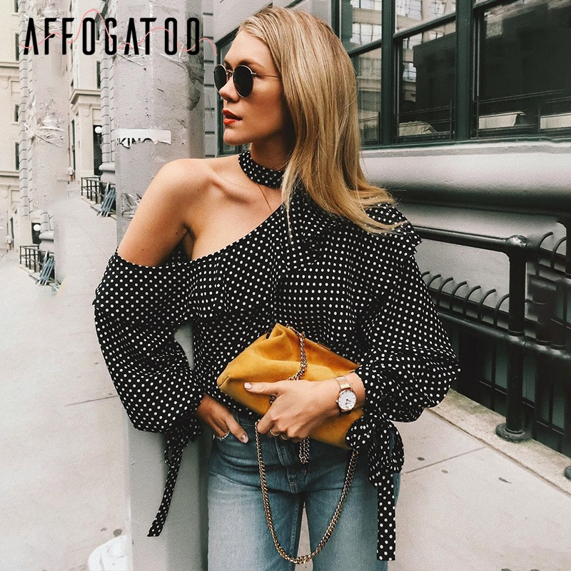 Affogatoo Ruffle one shoulder chiffon   blouse     shirt   Retro polka dot lantern sleeve   blouse   blusas Casual summer bow women tops