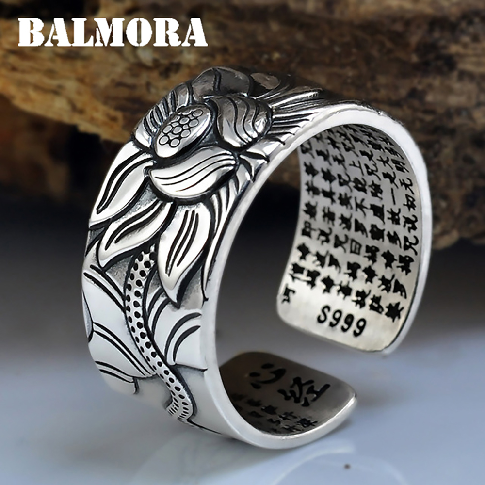 Image 2 - BALMORA Real 999 Pure Silver Retro Lotus Flower Open Stacking Finger Ring For Men Women Buddhism Sutra Fashion JewelryRings   -