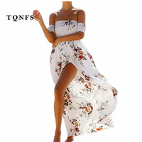 TQNFS Fashion Floral Print Boho Style Long Dress Women Off Shoulder Beach Summer Dress Slash Neck