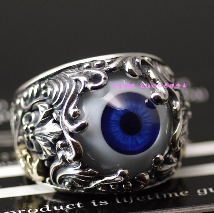 925 argent pur gv fleur de luce crâne anneau artificiel pour les yeux