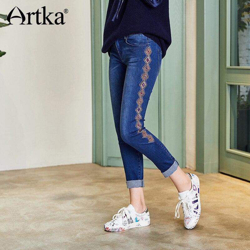 ARTKA 2018 Automne et D'hiver Femmes Vintage Géométrique Broderie Pantalon De Mode Glands Tout-Allumette Jeans KN15081Q