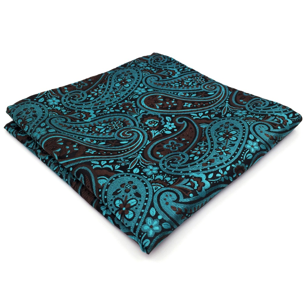Dark Turquoise Black Paisley Pocket Square Big Size Wedding Silk Handkerchief