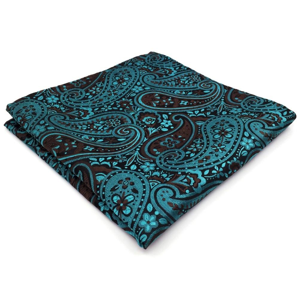 Dark Turquoise Black Paisley Pocket Square Big Size Wedding Silk Handkerchief