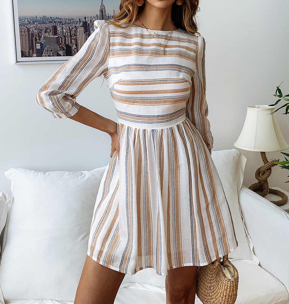 ZOGAA Nữ Cotton Thun Đầm Thanh Lịch Sọc Cổ tròn Chữ A Ngắn Vestidos Feminino Thường Ngày Nghỉ Lễ Bãi Biển Váy 2019