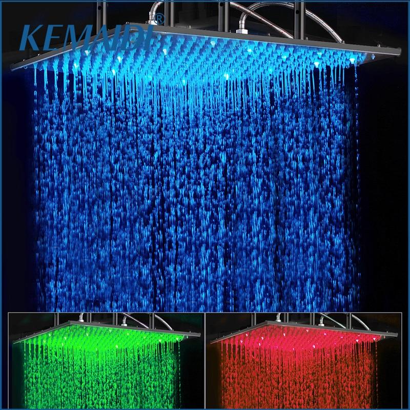 KEMAIDI Ванная комната Насадки для душа 24 дюймов Насадки для душа светодио дный Романтический Черный квадрат Насадки для душа ORB закончил с из д