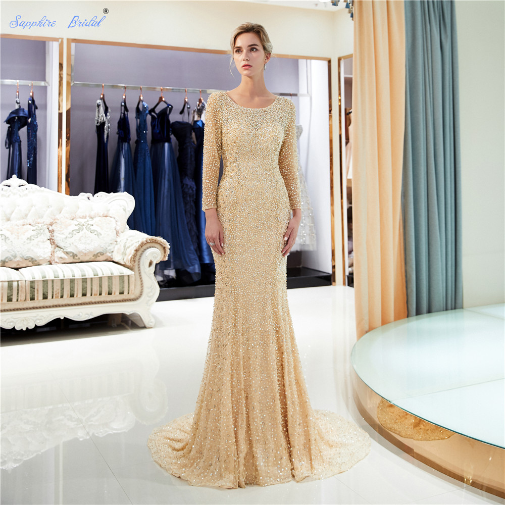 Sapphire Bridal Vestido De Festa 2019 3/4 Sleeve Sparkly Luxury Long Formal Gowns Beads Sexy Backless Gold Long   Evening     Dress