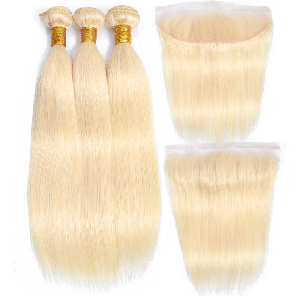 Beauty Grace Straight Bundles Honey Blonde 613 Bundles With Frontal Non Remy Brazilian Human Hair Weave