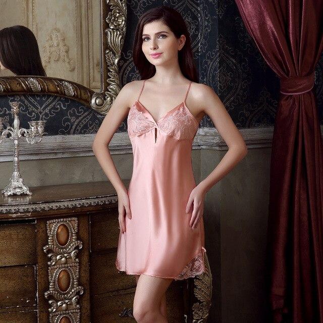 Новые летние шелковые пижамы женские ночные сорочки Главная женские  пикантные ночная рубашка 011baea92a58b