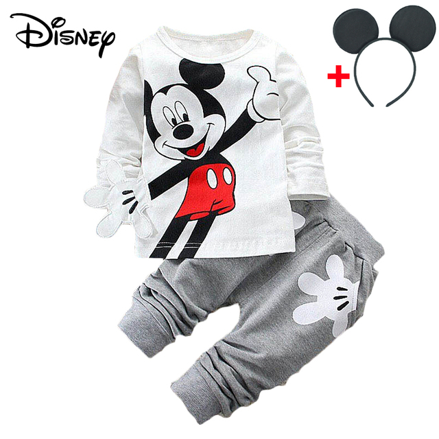 Disney Mickey Minnie Frozen Xmas Baby Set Fashion Newborn Baby Cute Girl T-Shirts Pants Outfits Kids Tracksuits Jogging Suits