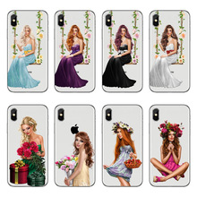 Fashion Flowers Woman soft TPU Phone Case For Coque iPhone X XSMAX 8 7 6 6s Plus 5 5s SE High quality Transparent Silicone Cover