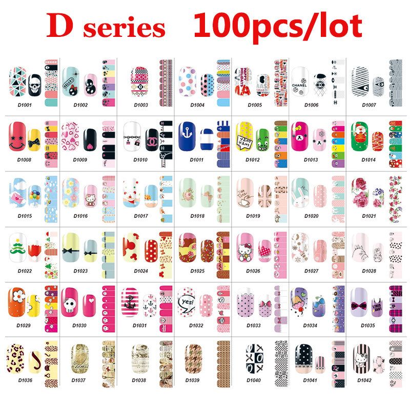 100pcs Full Cover Nail Art Decal Wraps Stickers Flowers Christmas Design Adhesive Polish Foils Nail Patch DIY Nail Decorations 12 pack lot water decal nail art nail sticker full cover christmas xmas santa clause deer bn229 240