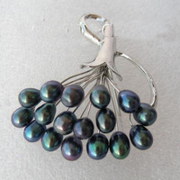 Wonderful Peacock Black Round Natural Cultured Pearls Brooches Wedding Party Pearl Jewelry Fashion Lady S Pearl