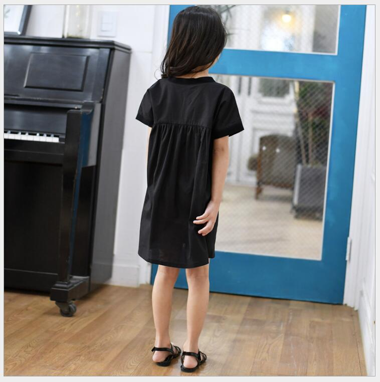 ed16d08aa7 Nastolatek dziewczyny krótkie czarne luźne duże rozmiary sukienka elegancka  dziewczyna plaży wakacje sukienka z 10 11 12 roku życia kostium dla dzieci  w ...