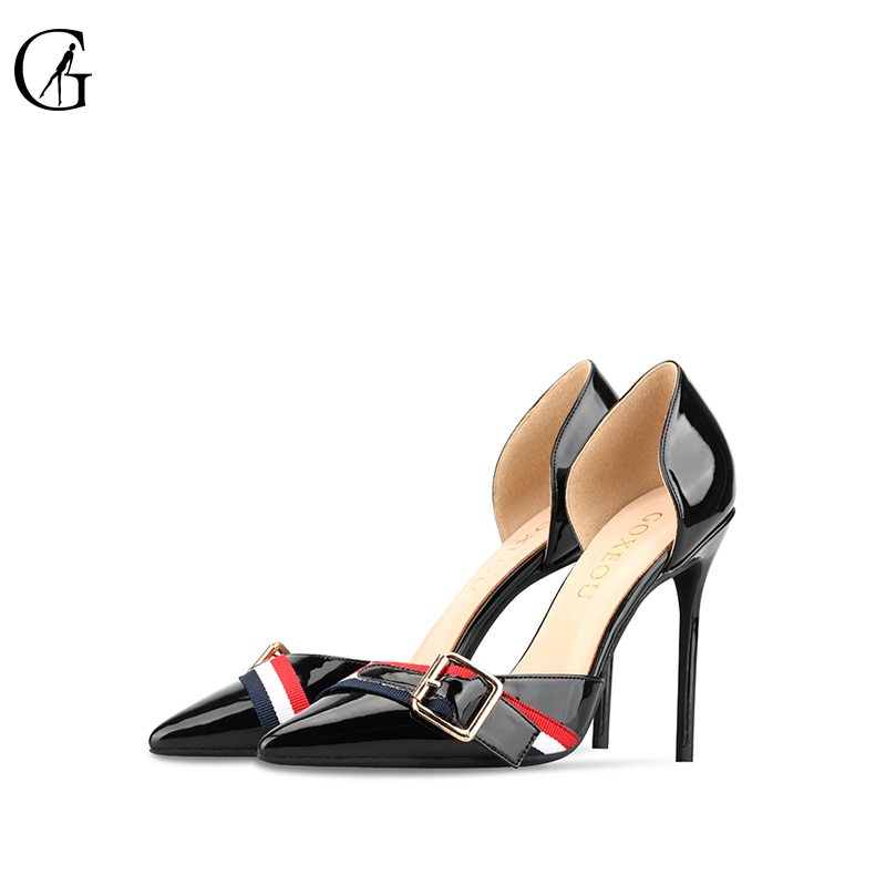 GOXEOU 2019 Women Pumps Thin High Heels Sexy Pointed Toe Patent Leather Wedding Office Party Handmade