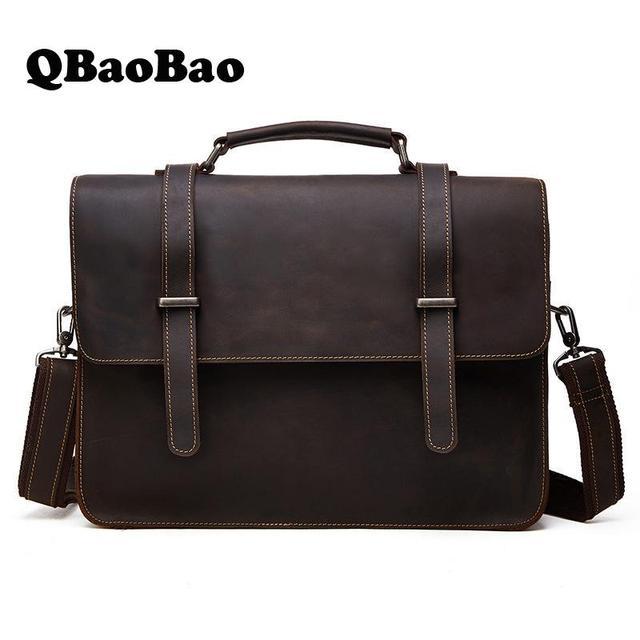 Genuine Leather Briefcase Crazy Horse Men Business Laptop Bag Leather Shoulder Casual Mens Business Bag