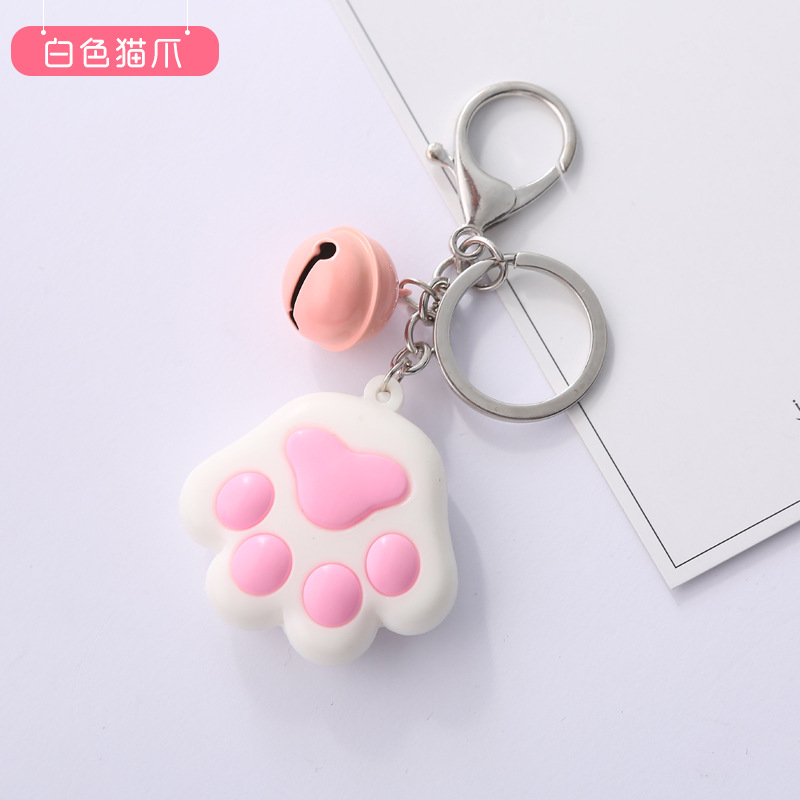 Popular Women Keychain Creative Three-Dimensional Cute Cat Claw Key Chain Soft Rubber Bell Car Bag Pendant Key Ring Pendant Gift
