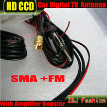 Coche Digital DVB-T TV Antena Antena Del Coche TV ANT29db 2 En 1 Antena SMA Booster + FM Radio free gratis ZJ