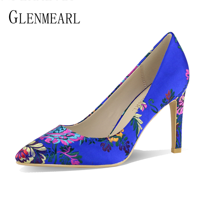 Brand Women Pumps High Heels Summer Shoes Pointed Toe Embroider Dress Shoes  Female Thin Heel Single f51d0d6ac1ba