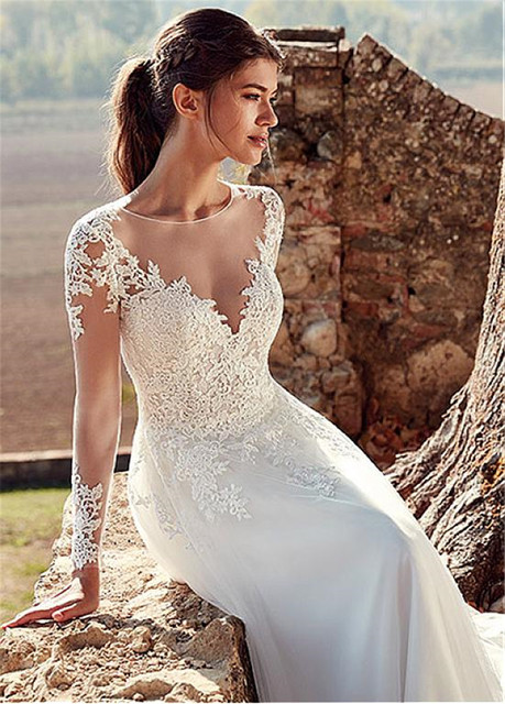 Tulle Jewel Neckline A-line Wedding Dresses With Illusion Back Lace Appliques Long Sleeves Bridal Dress vestido de noche 2