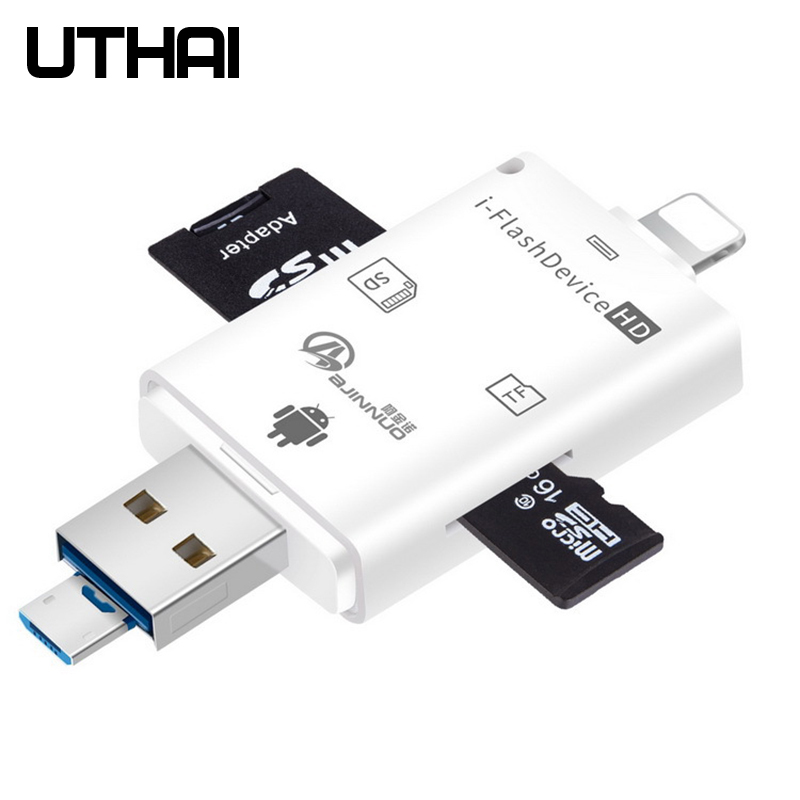 UTHAI C20 Card Reader 4in1 All In One Type-c/Lightning/Micro USB/USB2.0 Adapter For IPhone TF/SD Cardreaders