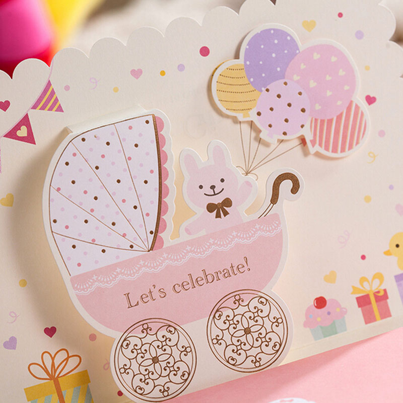 1pcs Sample Pink / Blue 3D Carton Invitation Cards Baby Full Moon ...