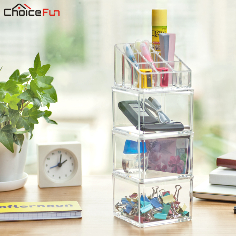CHOICE FUN DIY Stackable Desktop Stationery Office Supplies Storage Box Cute Clear Acrylic Desk Accessories Home Office Storage
