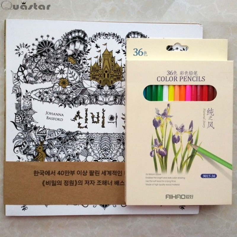 96 Pages Korean Enchanted Forest Inky Hunt Colouring Book 36 Color Pencils Kids Adults Antistress