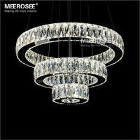 Hot sale LED K9 Crystal Pendant Light Lamp Lustres De Cristal Suspension Modern LED 3 Rings Drop Lighting Fixture MD2226
