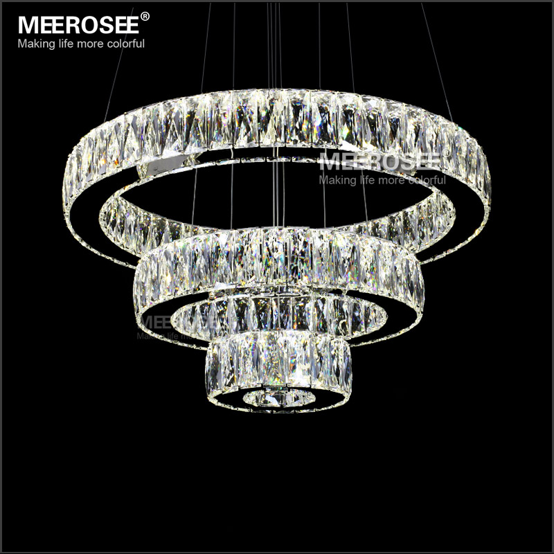 Hot sale LED K9 Crystal Pendant Light Lamp Lustres De Cristal Suspension Modern LED 3 Rings Drop Lighting Fixture MD2226 ...