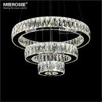 Hot sale LED K9 Crystal Pendant Light Lamp Lustres De Cristal Suspension Modern LED 3 Rings Drop Lighting Fixture MD2226