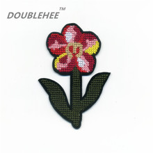 DOUBLEHEE 7.3cm*10.3cm Embroidered Iron On Patches Cross-stitch Flowers With Green Leaves Embroidery Coat Shoes Accessories