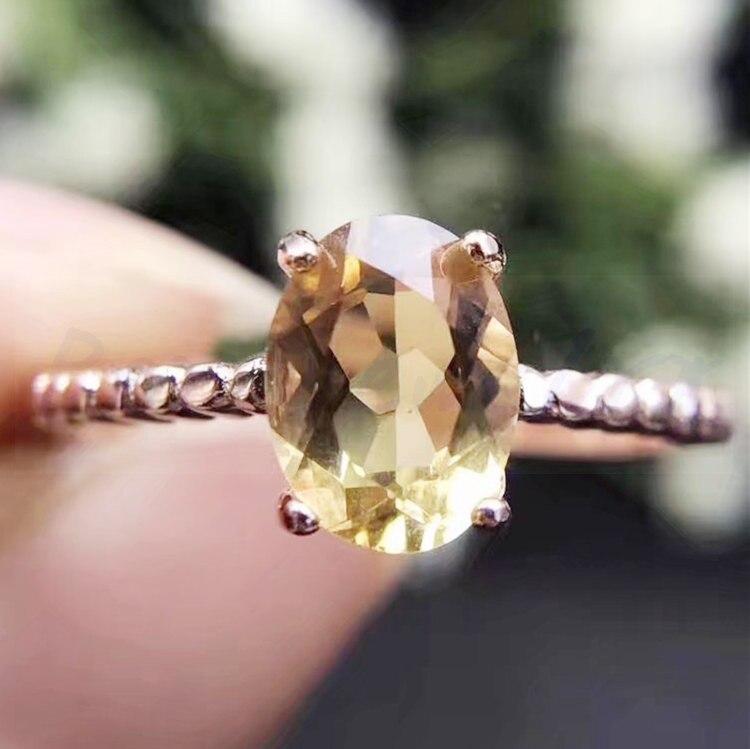 Кольцо с топазом Настоящее натуральное цитрин 925 серебро ювелирные изделия оптом женское кольцо 1.3ct драгоценный камень# H95805 - Цвет камня: plated rose gold