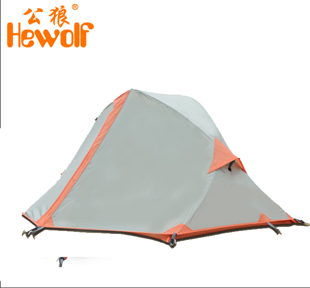 Hewolf 1 person Aluminum pole rain proof hiking travel trekking cycling riding mountaineering fishing beach outdoor camping tent hewolf 2persons 4seasons double layer anti big rain wind outdoor mountains camping tent couple hiking tent in good quality